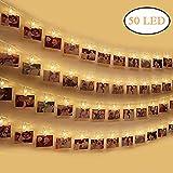 Dricar LED Photo Clips - 50 LED Photo Pince, Guirlande Lumineuse Photo Clip 5.2 Mètre Batteries Alimenté pour Accrocher Photos et Décor Saint Valentin, Noël, Anniversaire, Fête(Blanc Chaud)