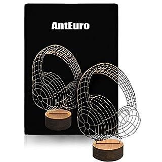 LED Child Night Light, AntEuro 3D Touch Table Desk Lamp USB Bedside Light (Headphones)