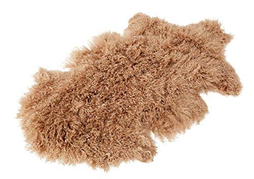 Tibet Lammfell Teppich Tierform (große Farbauswahl) JAY26 Farbe camel / hellbraun (Camel Bank)