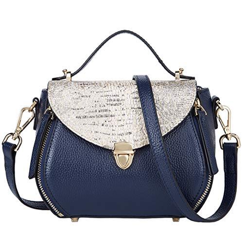Vintage Flap Padlock Bags Split Leder Damen Schultertasche Mode Umhängetaschen Blue