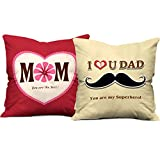 #4: Best Mom Superhero Dad 12x12 Red Beige Cushions with Filler Insert Father's Day Mother's Day Birthday Anniversary Gift Hamper