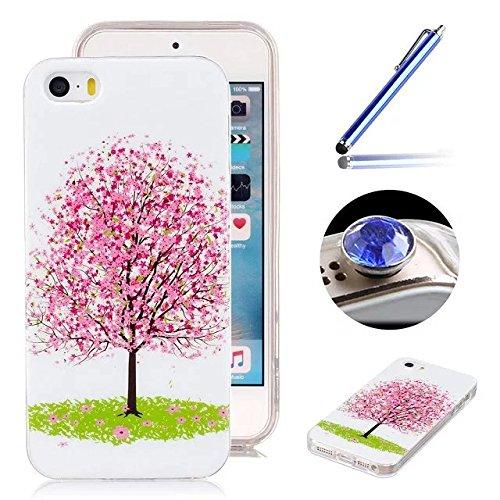 [iPhone 5/5S/SE] Silicone Coque,Souple TPU Coque Housse de Téléphone pour iPhone 5/5S/SE,Etsue Peinture Style Ultra Mince Souple TPU Silicone Lumineux Fluorescents Dans Le Case Cover pour iPhone 5/5S/ Sakura Arbre