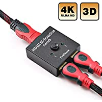 HDMI Switch Bi-direction Manual HDMI Switcher 2 Into 1 or 1 In 2 Out HDMI Splitter 2 Ports HDMI Hub-HDCP Passthrough-Supports Ultra HD 4K 3D 1080P By DotStone