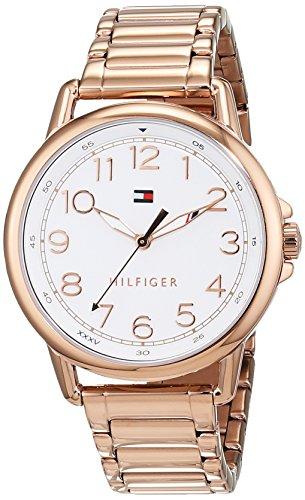 Tommy Hilfiger Damen Datum klassisch Quarz Uhr mit Roségold Armband 1781657
