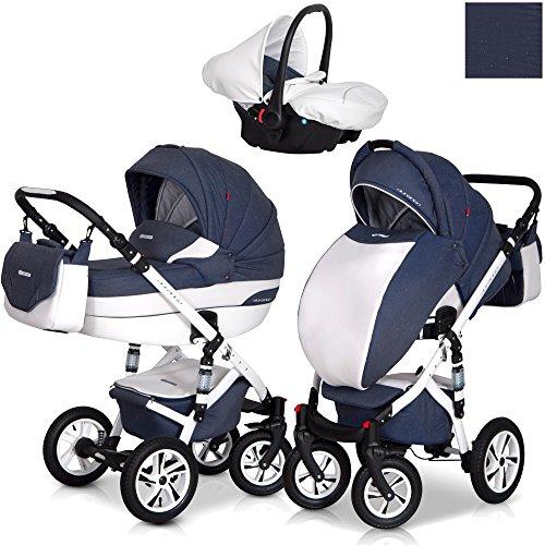 Eurocart DURANGO Denim 3in1 Kombikinderwagen Babywanne Buggy Autositz Babyschale 0-10 kg Alu und Leder Edition