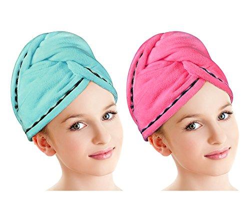 Luxspire 2 Pack Mikrofaser Haartrockentuch, Schnell trocknender Haarpunzel, langes Haar Turban, Bad Dusch Kopftuch Handtuch mit den Knöpfen, Super Wasser Absorbent, Blau & Rosa Rot