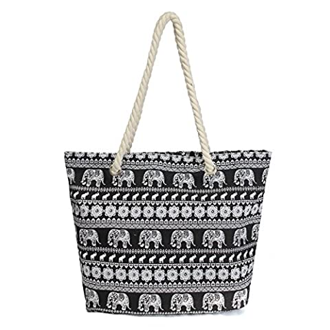Nawoshow Bohemian Handbag Rope Handle Elephant Beach Bag Canvas Tote Bag For Women