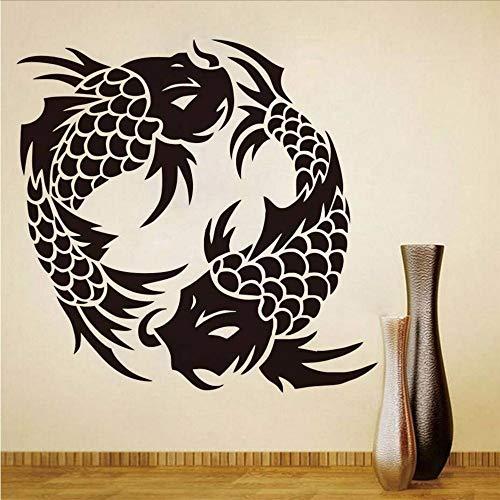 (Koyiyo 3D Doppel Fisch Wandaufkleber Spiegel Wandaufkleber Niedlichen Fisch Tapete Wasserdichte Kunst Aufkleber Diy Wohnkultur Wandbild Raumdekoration 59 * 58 Cm)