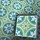 1m² bunte Fliesenspiegel dekorative grüne Zementfliesen Motiv Radia 1531 Mosaikfliesen