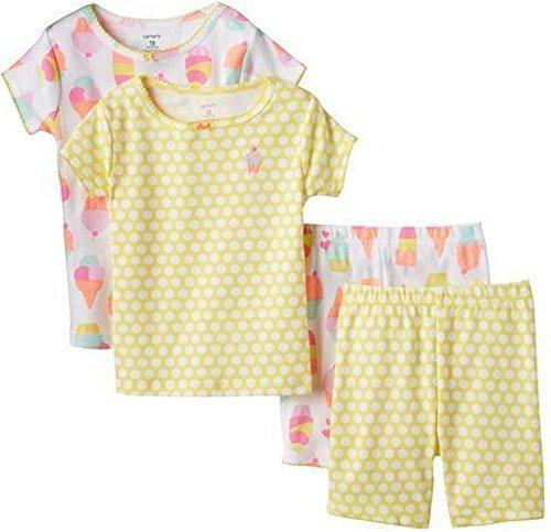 Carter's Schlafanzug Pajama kurz Nachtwäsche Sommer 4 teilig (0-24 Monate) Mädchen gelb Eistüte (80/86, gelb) (Schlafanzug Kurzen Carters)