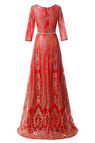 Promgirl House Damen Huebsch Pailletten A-Linie Abendkleider Ballkleider Cocktailkleider Lang mit Aermel Rot