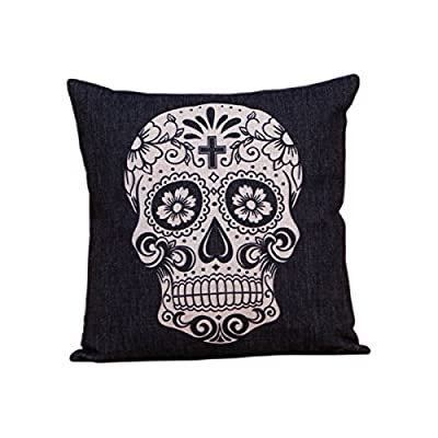 "Tukoh Black Skull Cushion Cover 18"" by 18"" (45cm by 45cm) - low-cost UK light shop."