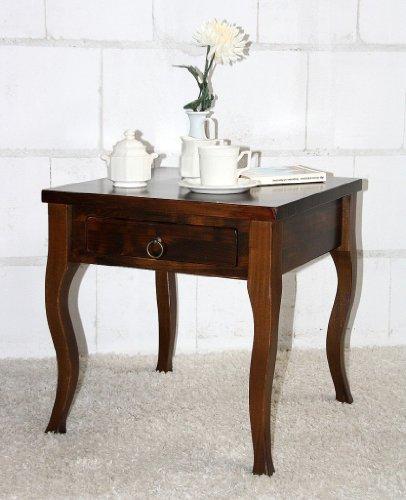 Casa Massivholz Beistelltisch kolonial Couchtisch mit Schublade Nachttisch Nachtkommode