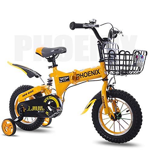 Axdwfd Kinderfahrräder Kinderfahrrad Stützräder, 12/14/16/18 Zoll Faltrad Geeignet für 2-10 Jahre alte Jungen und Mädchen Fahrrad, Blau, Rot, Gelb (Color : Yellow, Size : 14in)