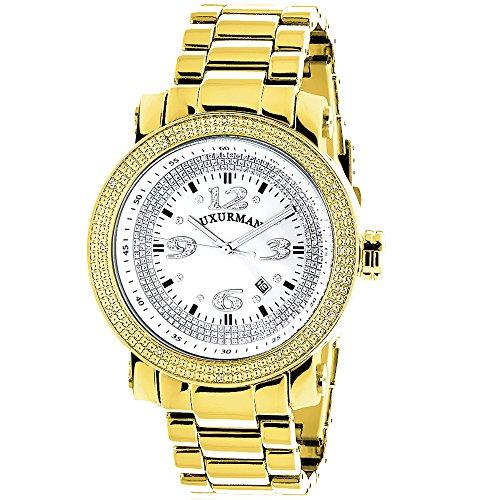 LUXURMAN Mens Diamond Watch Yellow Gold Plated 0.12ct