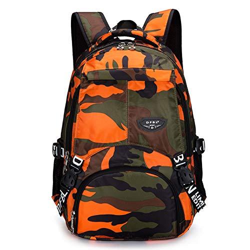 Bcony Camouflage Schulrucksäcke, orange Leichter Tagesrucksack aus Polyester-Oxford-Gewebe für Teenager Jungen Mehrfachtaschen-Tagesrucksack für Outdoor-Sportreisen Orange Camouflage