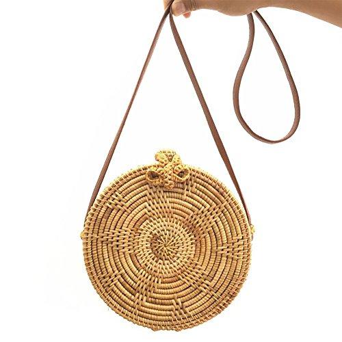 Purebesi Handarbeit häkeln Tasche, gestrickte Tasche, Mode gewebt Umhängetasche, kreisförmige Strandtasche, Star Sunflower Strand Aufbewahrungstasche für Frauen Handmade Crochet Mode