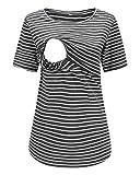 Love2Mi Still-Shirt Damen Umstandstop, Schwangeres Stillen Nursing Schwangerschaft Top Umstandsmode Layereddesign Wickeln-Schicht, Dunkelgraue Streifen, M