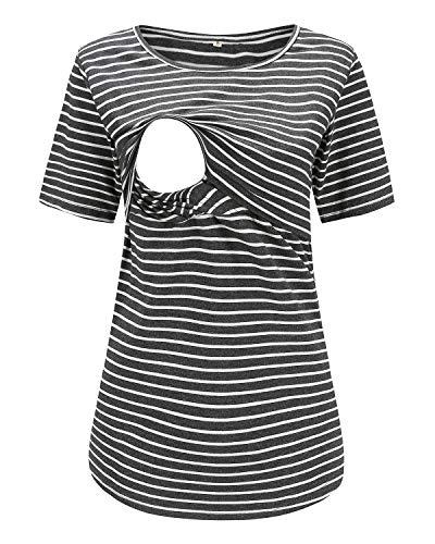 Love2Mi Still-Shirt Damen Umstandstop, Schwangeres Stillen Nursing Schwangerschaft Top Umstandsmode Layereddesign Wickeln-Schicht, Dunkelgraue Streifen, M -
