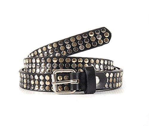 Cintura donna borchiata nera in vera pelle altezza usato  Spedito ovunque in Italia