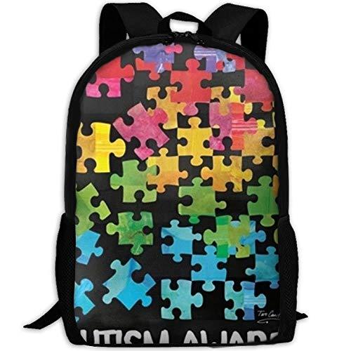best& Casual Autism Awareness Laptop Backpack School Bag Shoulder Bag Travel Daypack Handbag