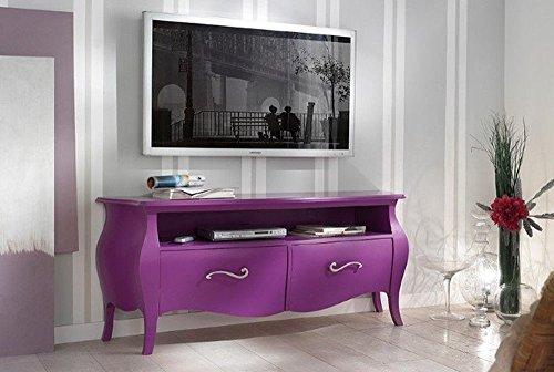 Legno&Design Porte TV Meuble séjour Salon en Bois 2 tiroirs et Compartiment à Jour bombée