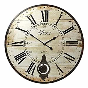 belle maison large shabby chic cream pendulum wall clock kitchen home. Black Bedroom Furniture Sets. Home Design Ideas