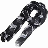 SWT Vogue Lady Zebra Print Scarf Animal Design Large Long Shawl - Black