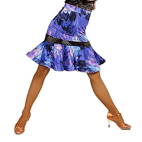 G2025 Latin Tanz Fisch-Knochen Masche-und-Netz verbundene Röcke angeboten von GloriaDance (peacock-blue, (Leopard Knochen)