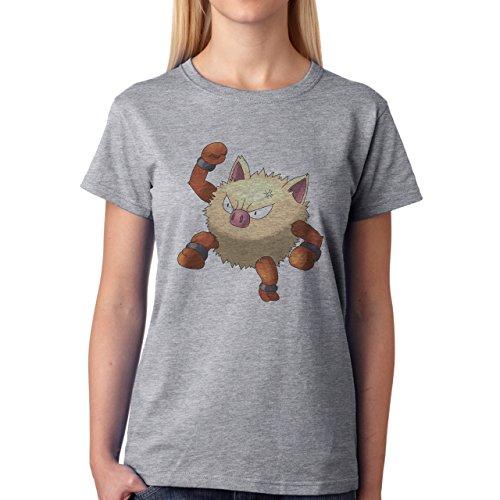 Pokemon Primeape Ape Monkey Jump Damen T-Shirt Grau