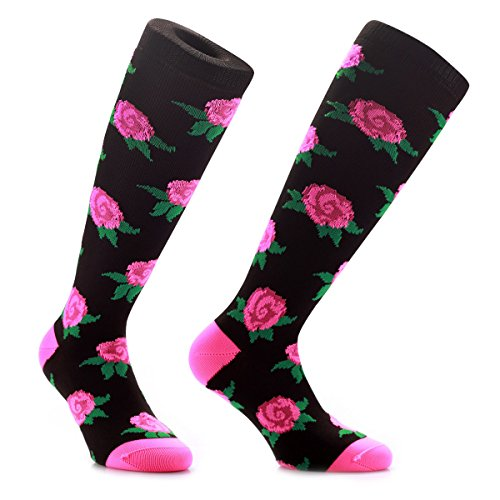 Kniehohe Socken von Samson Hosiery in Blumendesign, witziges Geschenk, für Sport und zum Anziehen jeden Tag, für Männer, Frauen und Kinder Gr. S, schwarz