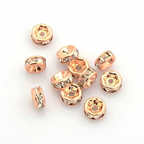 Angel Malone 20x 8mm Rose Gold Kristall Strass Rondelle Spacer Perlen. Hervorragende Qualität