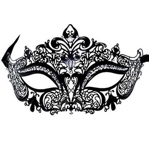 Fliyeong Retro Mask Mysterious Mask Metallmaske Strasssteine ??Druckmaske für Party/Halloween Schwarz