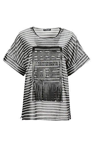 Oops Outlet Damen Seitenschlitz Ko Byrant Be Übergröße Troddel Netz Damen Quaste T-shirt Top Grau