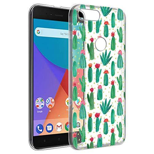 Funda Xiaomi A1, Eouine Cárcasa Ultrafina Silicona 3d Transparente con Dibujos Impresión Patrón [Antigolpes] Suave Gel TPU Housse Bumper Case Cover Fundas para Movil Xiaomi Mi A1 / Xiaomi Mi 5X (Cactus)