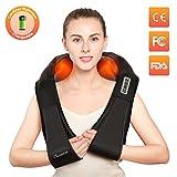 Charminer masajeador de cuello y hombros, Almohada de masaje shiatsu eléctrico para cuello hombros cervicales espalda piernas y pies, masaje con rotación 3D y función de calor en casa, oficina y coche