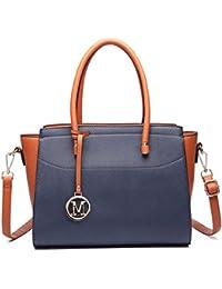 Miss Lulu Damen Klassische Handtasche Winged Schultertasche Groß Umhängetasche Taschen