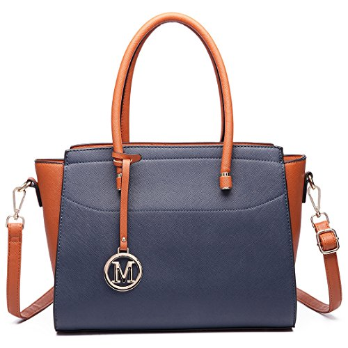 Miss Lulu - Borsa a tracolla donna 6627 Navy/Brown