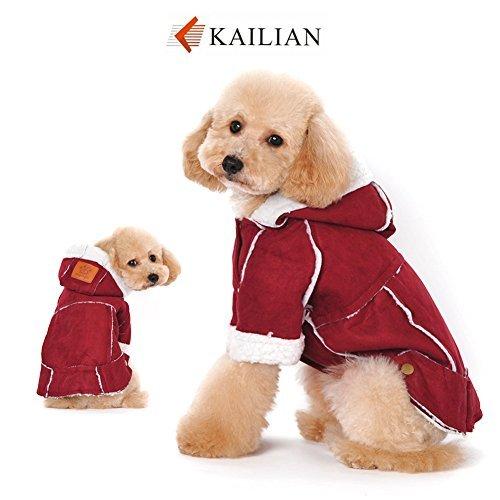 erjacke Puppy Kapuzenmantel, Hundekleid, Hundeschneeanzug, Kunstlammfell Stoff Mantel-Baumwollkleidung-Red-XXL (100 Pfund Hund Kostüme)