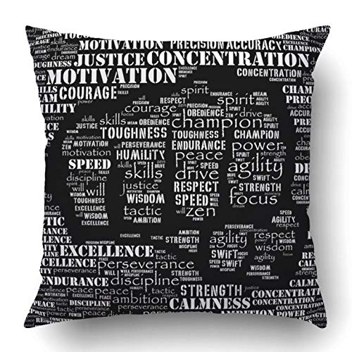 RAINNY Throw Pillow Covers Motivation Essence Fighter Gym Word Kickboxing Athlete Karate Dedication Boxing Polyester Square Hidden Zipper Decorative Pillowcase 16x16 inch Essence-slip