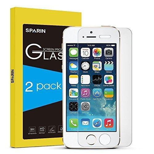 SPARIN [2 Unidades] Protector de Pantalla para iPhone SE, Protector de Pantalla de Cristal Templado...