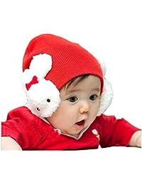 BININBOX® Baby Süß Hase Cartoon Ohrschutz Wollmütze warm Wintermütze Strickmütze Warmschutz Herbst Winter