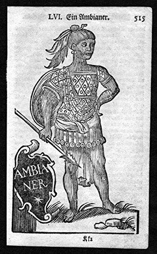 Afrika Tracht (Ein Ambianer - Namibia Namibien Afrika Tracht Trachten costumes Holzschnitt antique)