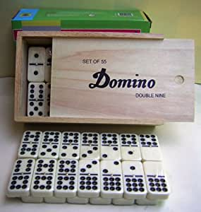 DOMINOES SET. DOUBLE 9. SPINNER. TOURNAMENT.WOODEN BOX