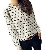 Loveso-Hemd Langarmhemd elegant Mode Frauen Langarm-Shirt Chiffon Lady Love-Herz-Bonbon-Bluse (38, Weiß)