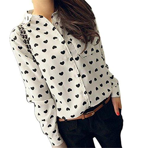 Bekleidung Shirt Loveso Sommerkleider Herbst Kleidung Damen Langarm Black Spots Hemd Chiffon Lady Herz Bonbon Bluse (40, Weiß) (Herz Womens Plus)