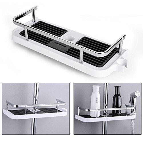 Fontic abs plastica mensola portaoggetti da doccia da bagno rack regolabile bagno doccia - Accessori bagno plexiglass amazon ...