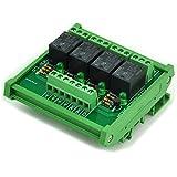 ELECTRONICS-SALON DIN Rail Mount 4 SPDT Power Relay Interface Module, 10A Relay, 5V Coil.