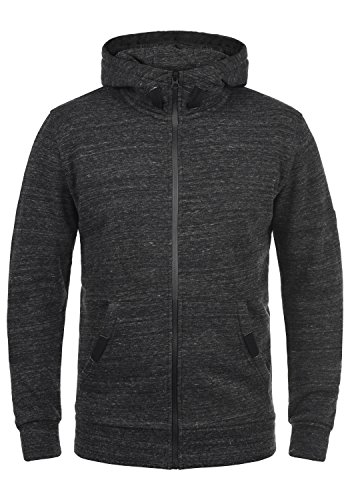 SOLID Obito Herren Sweatjacke Kapuzen-Jacke Zip-Hoodie aus einer hochwertigen Baumwollmischung Meliert, Größe:M, Farbe:Black (9000)