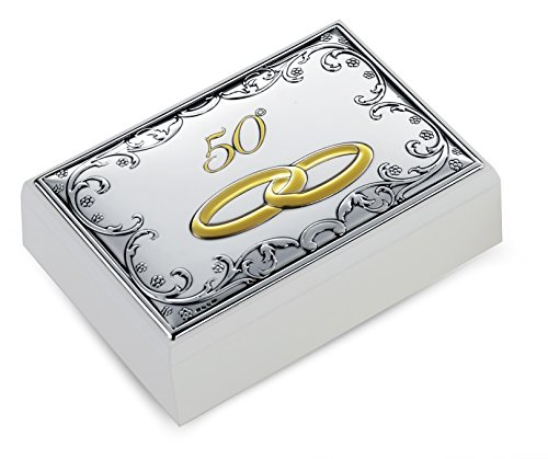 Coffret Thème baroque 50 ° anniversaire mariage noces d'or cm 11 x 16 H.4,5 Bi laminé argent Made in Italy bois finition